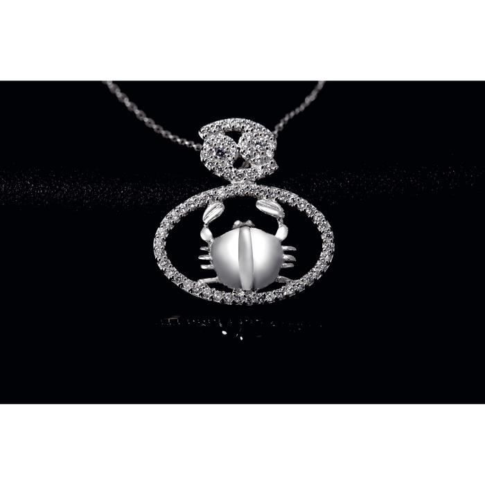 Fei Liu Constellation Collection Cancer Zircon Pendentif en argent Z8P0R
