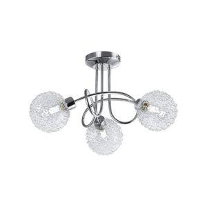 PLAFONNIER Plafonnier LED, 3 spots, globes en cristal, lumina