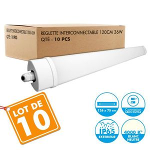TUBE LUMINEUX Lot de 10 Reglettes Interconnectables LED Etanche