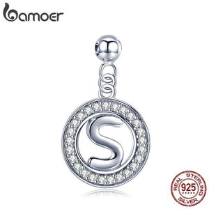 Charm's BAMOER Charms Lettre-S  Vision 925 Argent Empilabl