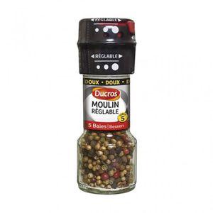 MOULIN DE CUISINE Ducros Moulin Réglable 5 Baies Doux (lot de 3)