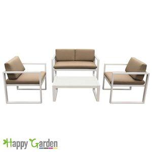 Salon de jardin IBIZA en tissu taupe 4 places - aluminum ...
