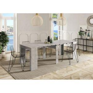 TABLE À MANGER SEULE Table extensible ALGA couleur béton gris