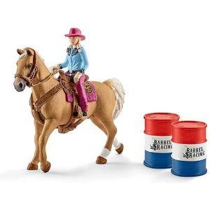 Schleich Amérique du Nord Barrel Racing avec Cowgirl playset TOY PLAY peint à la main
