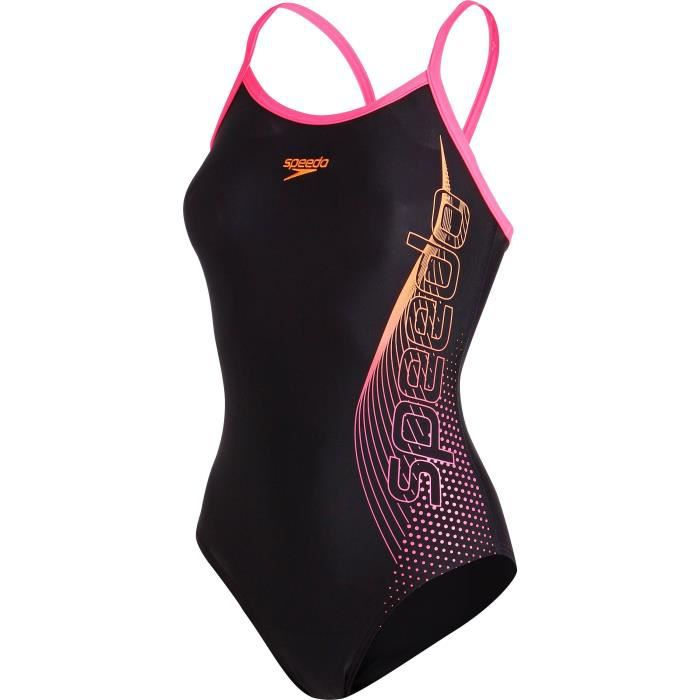 SPEEDO Maillot bain 1 pièce femme Placement Thinstrap Muscleback - Noir / Rose