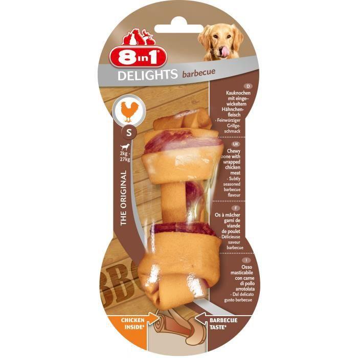 8IN1 Friandise os à mâcher - Goût barbecue garni de viande de poulet - Pour chien de petite race à race moyenne