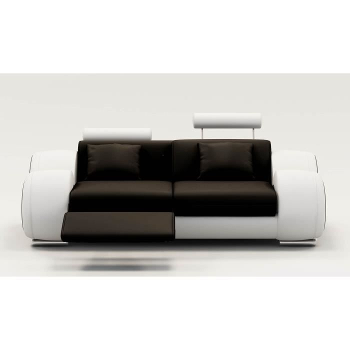 Canapé 2 places design relax OSLO en cuir noir et blanc