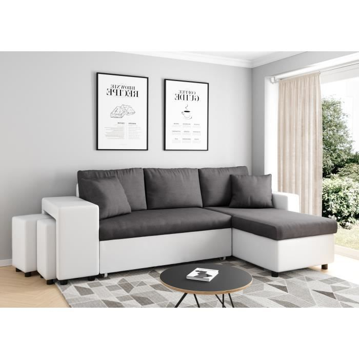 Canapé d'angle droit convertible Gris/Blanc avec coffre et poufs OSLO