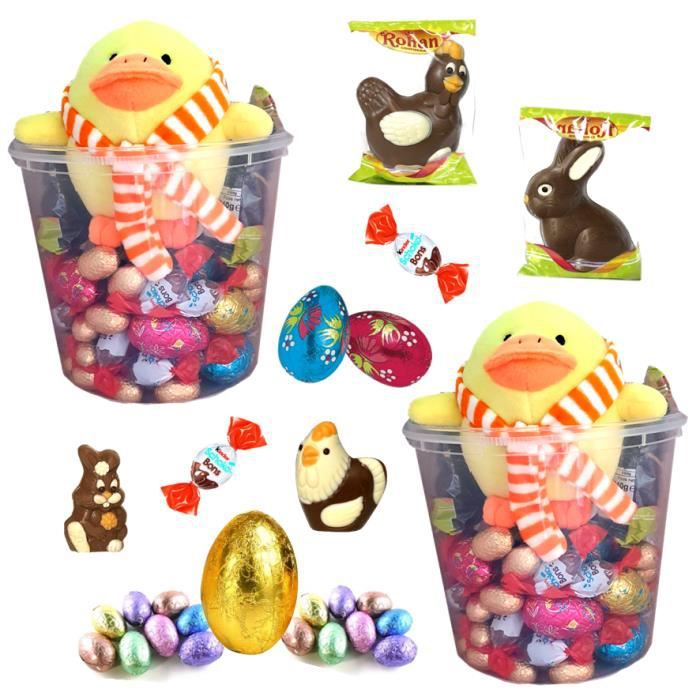 2 boxes et leurs poussins garnies de 35 chocolats: KINDER Schokobons , petits et gros oeufs, moulages