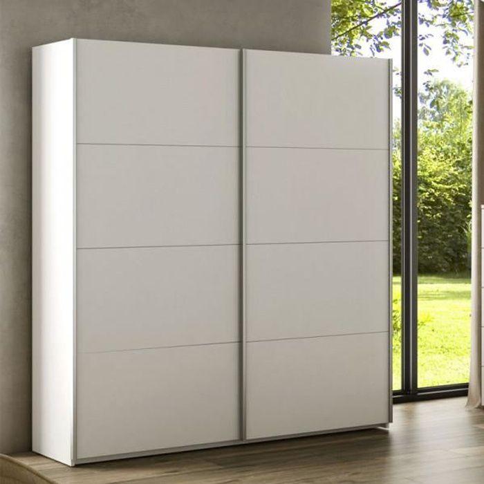Armoire 2 portes coulissantes Blanc - COPIST - Blanc - Bois - L 150 x l 60 x H 200 cm - Armoire