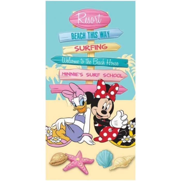 Drap de plage ou drap de bain Minnie et Daisy