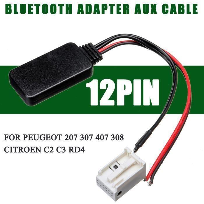 JIE Adaptateur Bluetooth Câble Audio AUX 12PIN Pour Peugeot 207 307 407 308 Citroen C2 C3 RD4