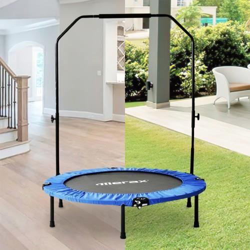 Trampoline de fitness pliable de 40 -, mini trampoline avec poignée en mousse réglable, charge max100 kg -bleu