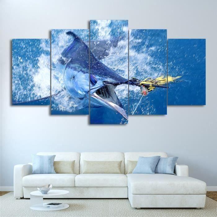 lingzhishop,56593-(Pas de cadre)Toile Imprimer 5 pièces Sauter Marlin Thon Poissons Peinture la Pêche Voilier Affiche Sa~CC1050