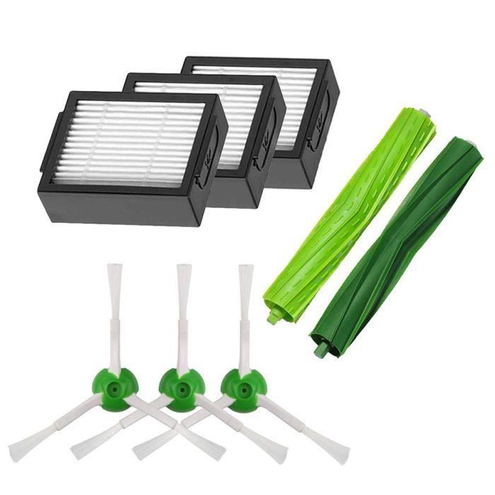 Kit Pièces accessoires pour iRobot Roomba serie i7 i7+/i7 Plus E5 E6 E7 Filtres et Brosses pour Aspirateur Robot (lot de 8)