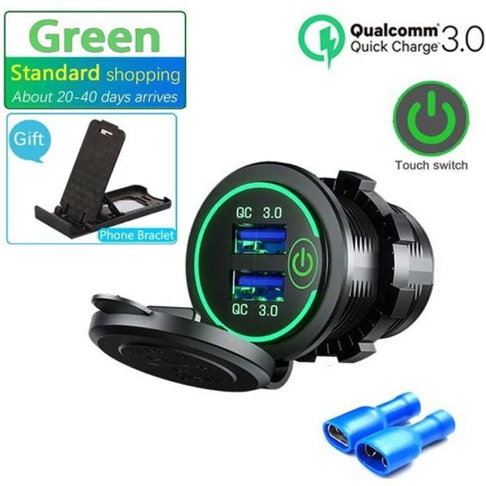 Prise double USB, interrupteur tactile, étanche, universel, pour moto, camion, bateau, téléphone, tablette, GPS, 12V-24V*SD1401