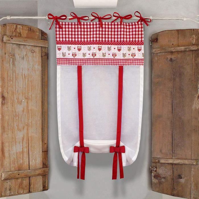 GLShabby Rideau Store en Coton À Carreaux, Rideau pour Fenêtre avec Motif d'Hiboux, Store Relevable, Brises Bise Campagne Chic - Car