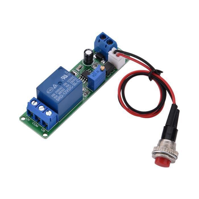 ARAMOX Module relais temporisé CC 12V Module d'Interrupteur de Temps de Relais de Temporisation Réglable 1~10 Secondes