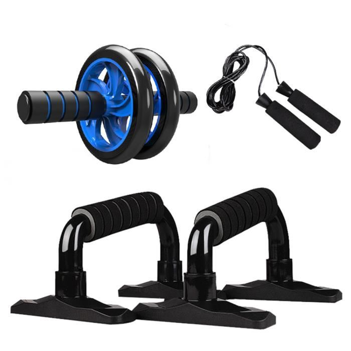 Appareils de Fitness, 4-en-1 Roue Abdominale + Barre push-up + Corde à Sauter + Tapis pour Genou, Équipement Portatif pour Exercice