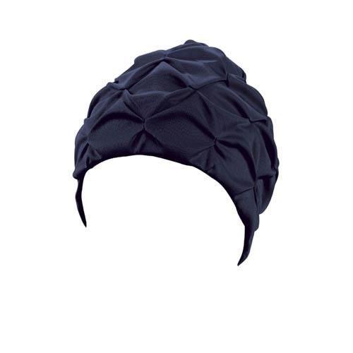 Beco bonnet de bain en tissu plissé pour dames bleu foncé