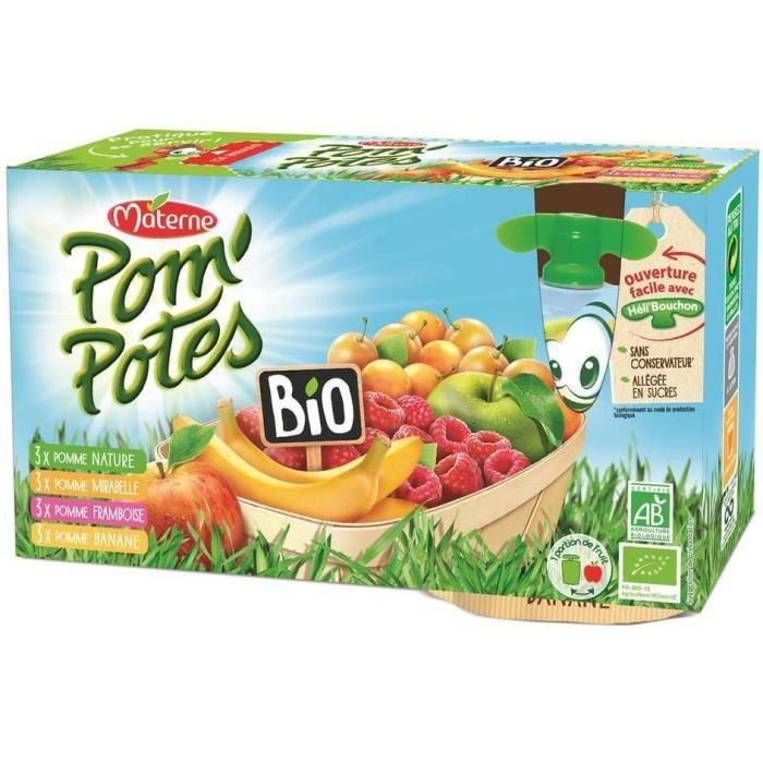 MATERNE Pom'Potes Bio Multivariétés de Fruits - 12 x 90 g
