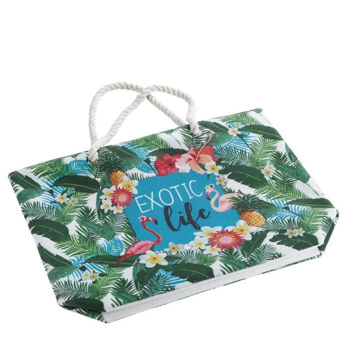 sac de plage 51 x 38 x 14 cm toile imprimee exotic life