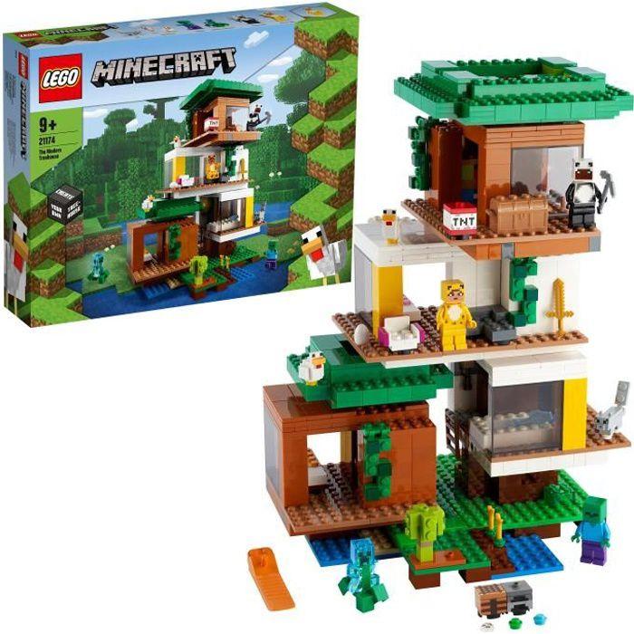 LEGO® 21174 Minecraft™ La cabane moderne dans l'arbre – Jouet Maison de Poupée pour Filles et Garçons, Modèle de Collection avec Fig