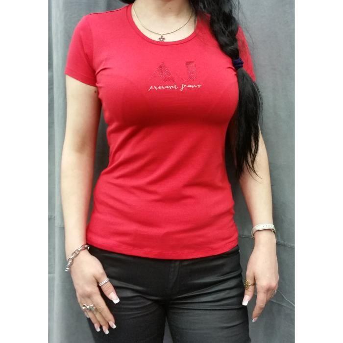 Tee-Shirt Armani Jeans pour femmes manches courtes V5H31 ROUGE.