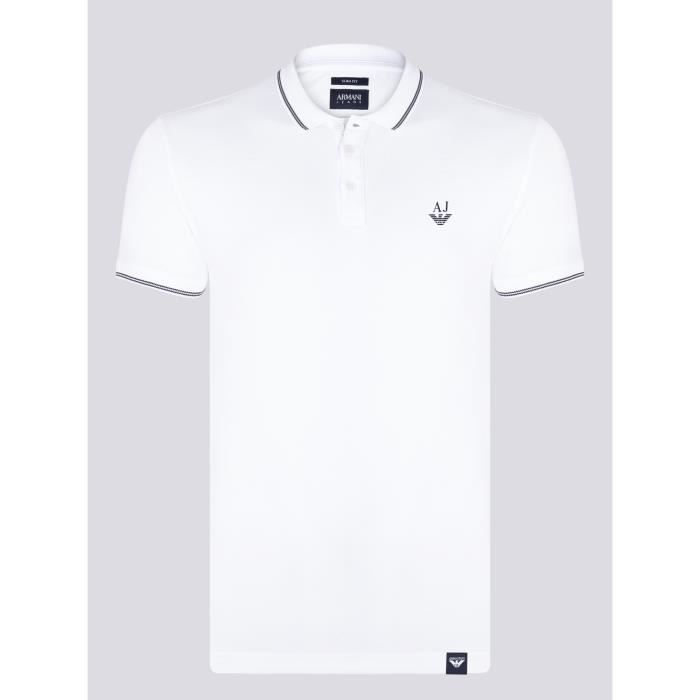 ARMANI JEANS Homme Polo Blanc Slim Fit