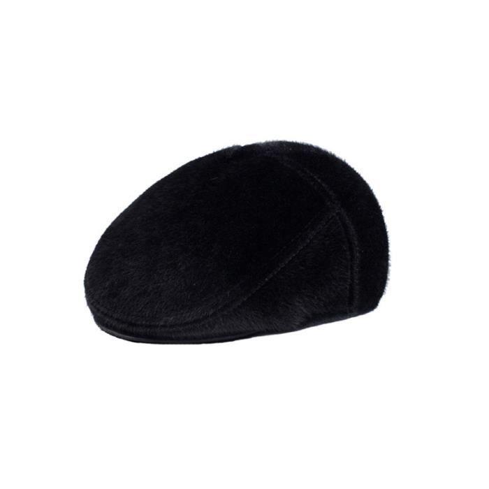 Black Male Vintage Cap Berets Soft Cotton Hat Warm Casual Beanie Father Gift for Autumn Winter - Size M CASQUETTE