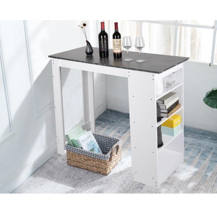 Table Haute de Bar Mange-debout Cuisine avec rangements – Noir et blanc - 115x50x103CM