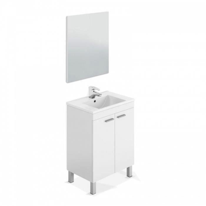 Meuble Sous-vasque avec 2 portes + Miroir coloris blanc brillant - 80 x 60 x 45 cm