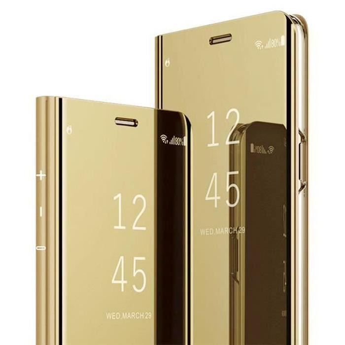 Coque OPPO Find X2 NEO, Clear View Transparente Miroir Smart Ultra Mince Léger avec Support pour OPPO Find X2 NEO, D'or