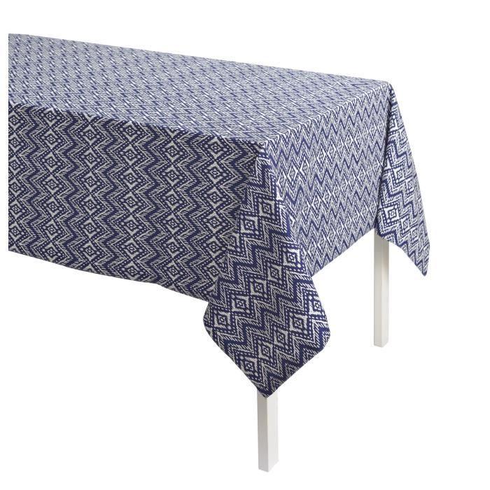 TODAY Nappe Imprimée CYCLADES 140x240 100% coton Bleu et blanc TODAY
