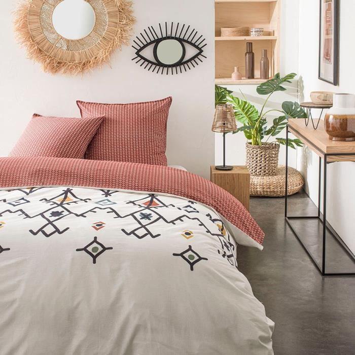 TODAY Parure de lit SUNSHINE 5.8 - 2 personnes - 220 x 240 cm coton - Imprimé Blanc Ethnique TODAY