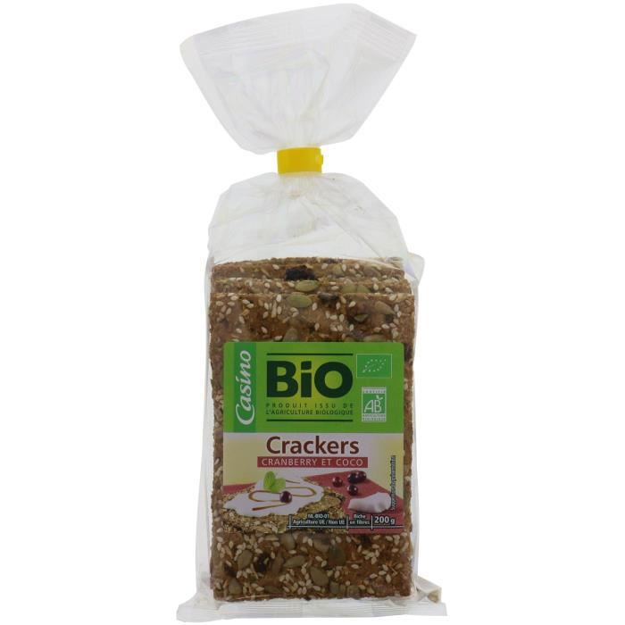 CASINO BIO Crackers Cranberry Coco Bio - 200g