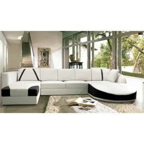 canap d 39 angle en cuir noir et blanc sonia achat vente canap sofa divan cuir bois. Black Bedroom Furniture Sets. Home Design Ideas