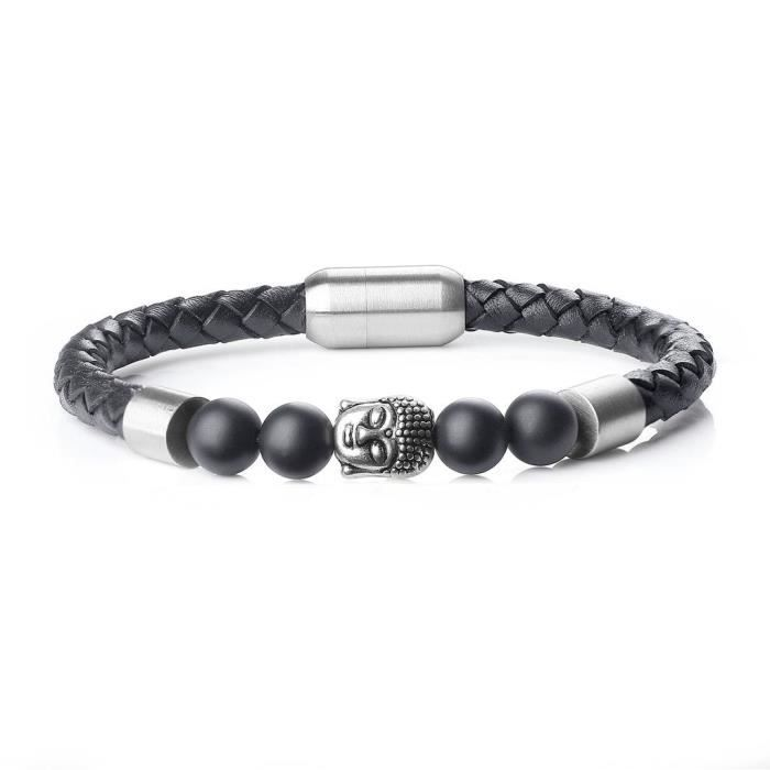 COAI Bracelet Cuir Pierre Onyx T/ête de Bouddha Homme