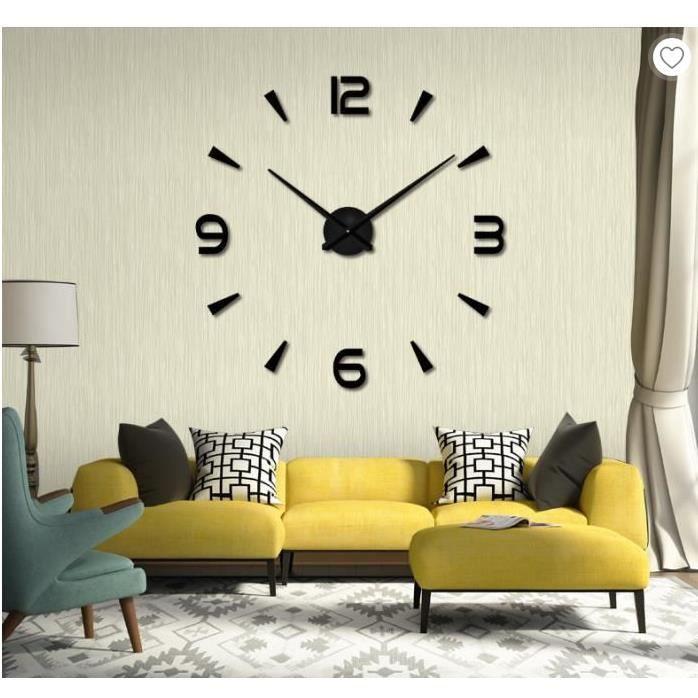 3d Diy Horloge Murale Design Pendule Metallique Adhesif Sticker Miroir Mural Chiffres Pour Decoration De Salon Maison Noir