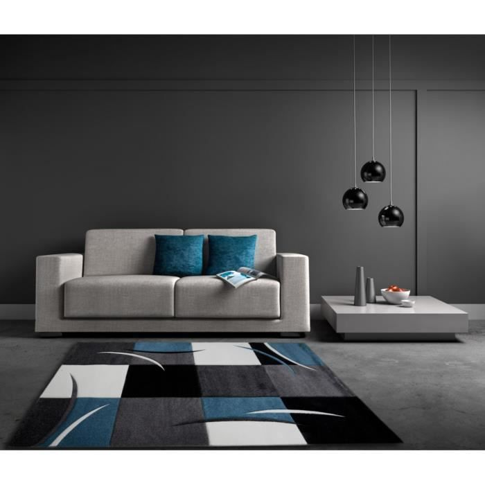 allotapis tapis d 39 int rieur pour salon bleu california 80x150cm bleu achat vente tapis. Black Bedroom Furniture Sets. Home Design Ideas