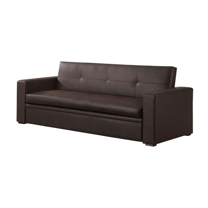 Canap lit convertible 3 places cuir marron smella achat vente canap s - Lit 1 place convertible 2 places ...