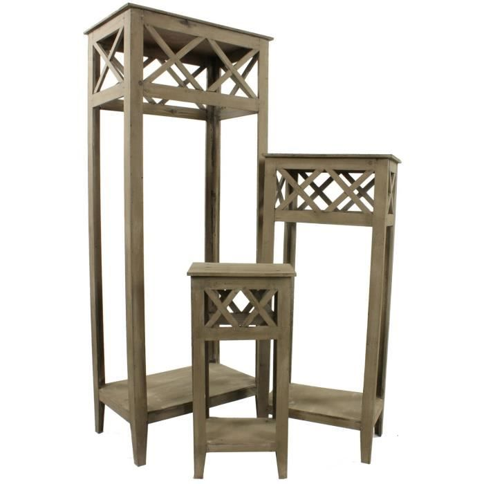 lot de 3 sellettes porte plante 58cm 90cm 128cm achat vente porte plante lot de 3 sellettes. Black Bedroom Furniture Sets. Home Design Ideas