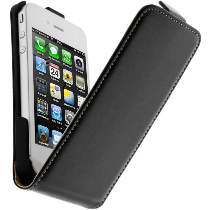 Housse etui clapet apple iphone 4 4s noir achat for Etui housse iphone 4