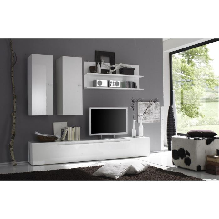 Ensemble meuble tv design laqu blanc brillan achat vente meuble tv ense - Ensemble mural tv design ...