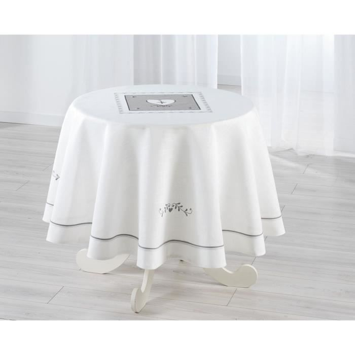 nappe ronde 180cm brod e amandine blanc achat vente nappe de table cdiscount. Black Bedroom Furniture Sets. Home Design Ideas