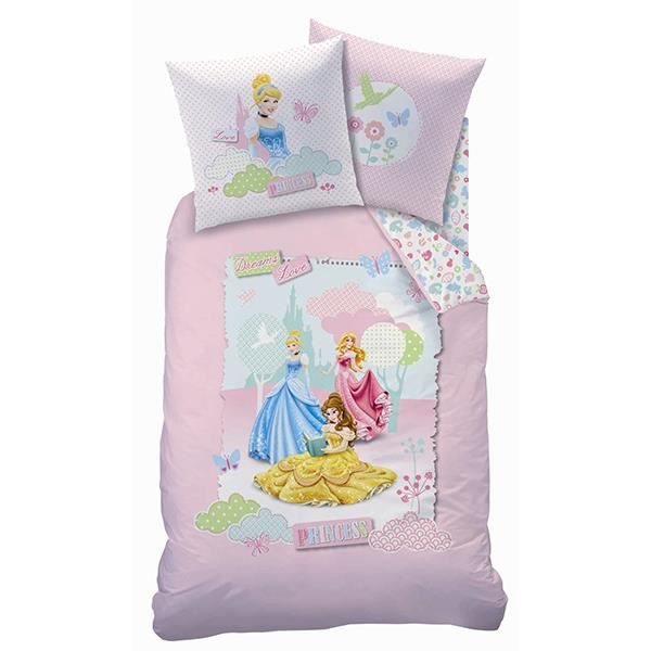 housse de couette princesses disney dreaming love 140x200 cm achat vente parure de drap. Black Bedroom Furniture Sets. Home Design Ideas