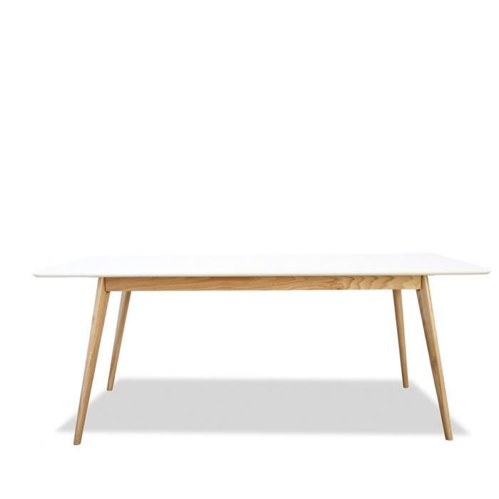 table scandinave bois et laque large 180cm skoll couleur blanc achat vente table a manger. Black Bedroom Furniture Sets. Home Design Ideas