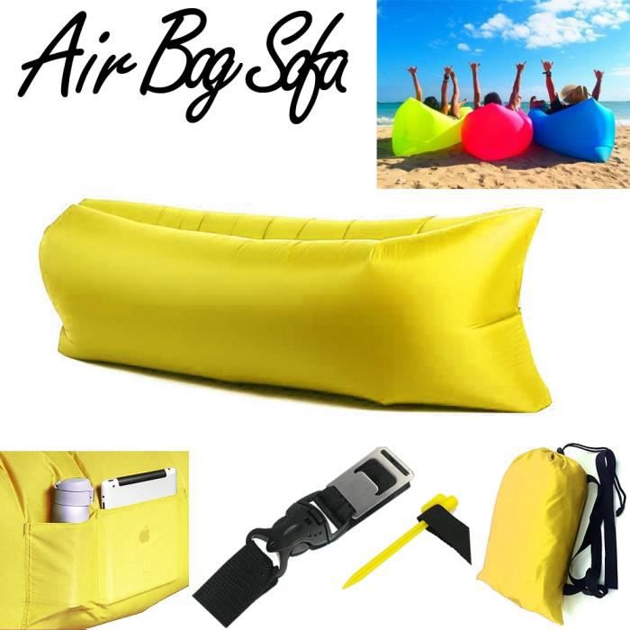 air bag sofa laybag canap gonflable jaune achat vente. Black Bedroom Furniture Sets. Home Design Ideas