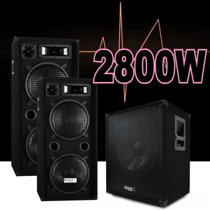 PACK SONO PACK SONO DJ 2800W avec 2 ENCEINTES DE 1000W + 1 C