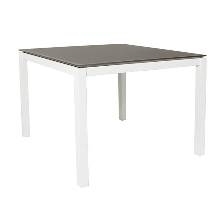 Table Carree Aluminium Blanc Et Verre Taupe 100x100 Cm Cook